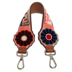 Fendi Multicolor Zucca Floral Velvet And Leather Strap You Bag Strap