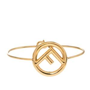 Fendi F is Fendi Gold Tone Narrow Bracelet S