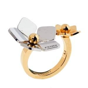 Fendi Flower Motif Two Tone Open Ring Size 53