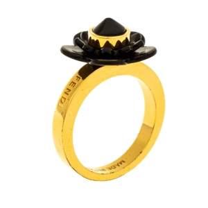 Fendi Gold Tone Black Flowerland Ring S