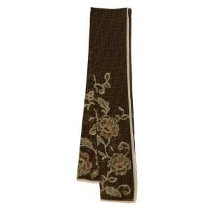 Fendi Brown Monogram and Floral Printed Silk Scarf