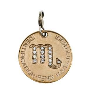 Fendi Gold Tone Crystal Zodiac Charm Pendant