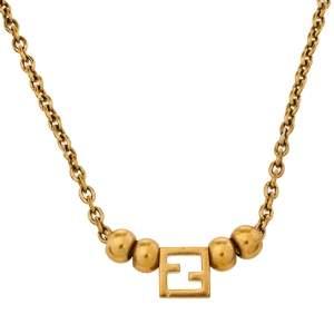 Fendi Zucca Pendant Gold Tone Bead Necklace
