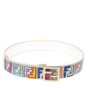 Fendi Multicolor Zucca Coated Canvas FF Logo Belt 80CM