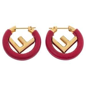 Fendi F Is Fendi Dark Red Leather Hoop Earrings