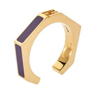Fendi Purple Gold Tone Baguette Ring L