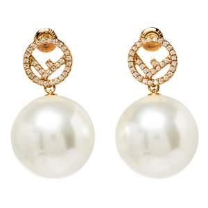Fendi F is Fendi Crystal Logo Pearl Drop Earrings