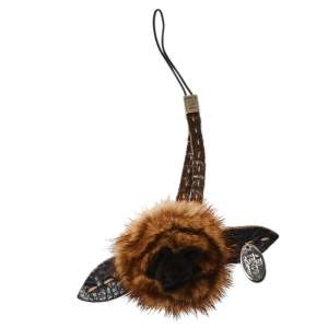 Fendi Brown Flower Fur Leather Cell Phone Strap Charm