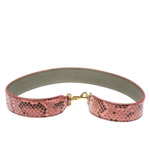 Fendi Pink/Brown Python Strap You Shoulder Strap