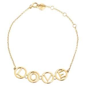 Fendi Gold Tone Love Charm Bracelet