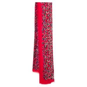 Fendi Red Zucca Leopard Pattern Printed Modal & Silk Scarf