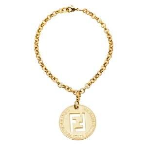 Fendi Gold Tone Identification Pendant Charm Bracelet
