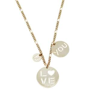 Fendi Pale Gold Tone Love You Pendant Necklace