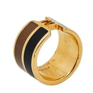 Fendi The Fendista Enamel Gold Tone Wide Band Ring S