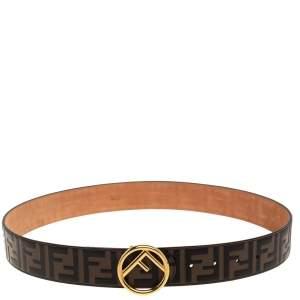 Fendi Brown Zucca Embossed Leather F Buckle Belt 90CM