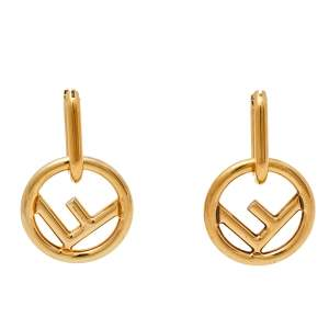 Fendi Gold Tone F Is Fendi Hoop Earrings