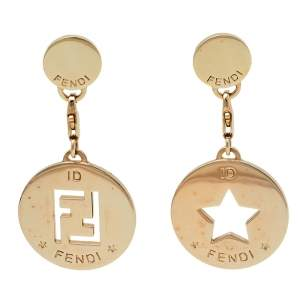 Fendi Gold Tone Identification Star Cut Out Drop Earrings