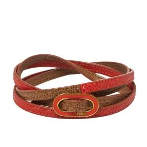 Fendi Coral & Beige Leather Crayons Multi Wrap Bracelet