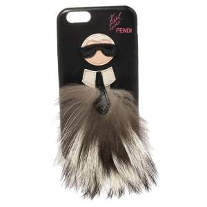 Fendi Black Leather and Fox Fur Karlito iPhone 6 Case