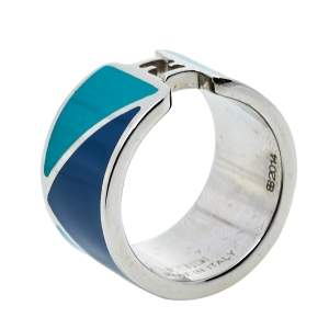 Fendi Bicolor Enamel Fendista Wide Band Ring M