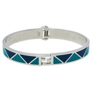 Fendi Green & Blue Enamel Silver Tone Fendista Cuff Bracelet