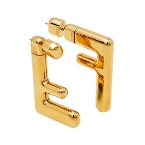 Fendi Gold Tone Small FF Earrings