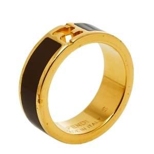 Fendi Bicolor Enamel Gold Tone Fendista Band Ring S