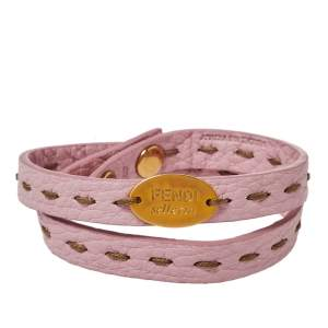 Fendi Pink Selleria Double Wrap Bracelet