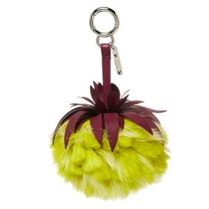 Fendi Yellow Pineapple Fur Pompom and Leather Bag Charm