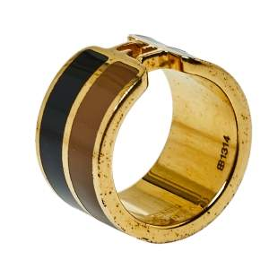 Fendi The Fendista Enamel Gold Tone Band Ring S