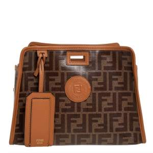 Fendi Brown Monogram Coated Canvas Peekaboo Defender Pouch