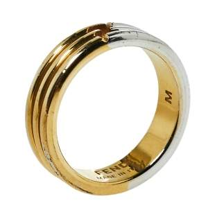 Fendi The Fendista Two Tone Narrow Band Ring M