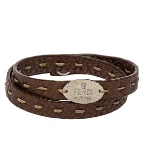 Fendi Metallic Brown Selleria Leather Double Wrap Bracelet
