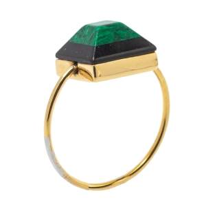 Fendi Green/Black Resin Rainbow Gold Tone Ring M