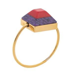 Fendi Red/Purple Resin Rainbow Gold Tone Ring L