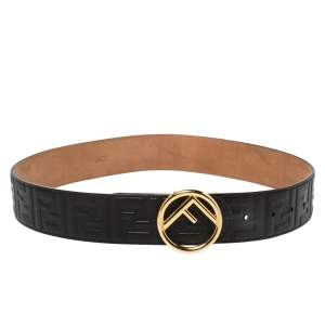 Fendi Black Zucca Embossed Leather  F Logo Belt 80CM