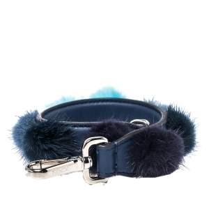 Fendi Blue Leather With Multicolor Mink Fur Pompoms Bag Strap