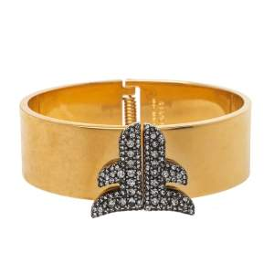 Fendi Two Tone Crystal Embellished Freedom Cuff Bracelet M