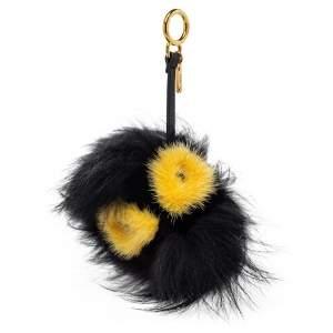 Fendi Black/Yellow Fox Fur Zesty Bug Bag Charm