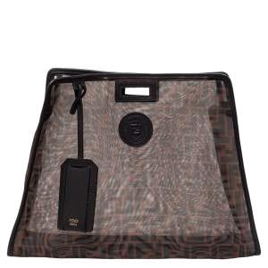 Fendi Brown Zucca Mesh and Leather Large Peekaboo Defender Pouch