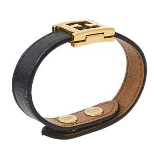 Fendi Black Leather Gold Tone FF Logo Bracelet