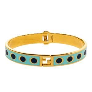 Fendi The Fendista Bicolor Polka Dot Enamel Gold Tone Bracelet M
