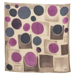 Fendi Vintage Beige Circle Print Silk Chiffon Scarf