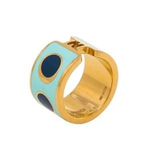 Fendi Fendista Blue Polka Dot Enamel Gold Tone Band Ring S