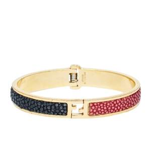 Fendi The Fendista Bicolor Stingray Leather Gold Tone Bracelet S
