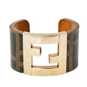 Fendi Brown Zucca Canvas Gold Tone Cuff Bracelet