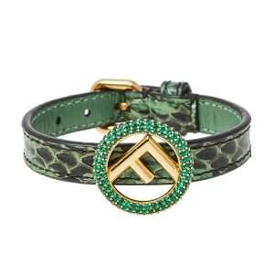 Fendi F is Fendi Green Snakeskin Leather Wrap Bracelet S