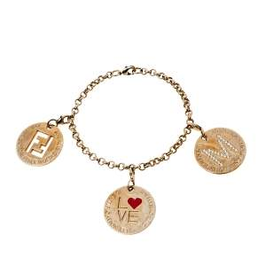 Fendi Logo Identification Crystal Gold Tone Multi Charm Bracelet