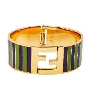Fendi Fendista Green/Purple Striped Enamel Gold Tone Wide Bracelet S