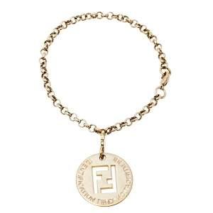 Fendi Identification Charm Gold Tone Bracelet